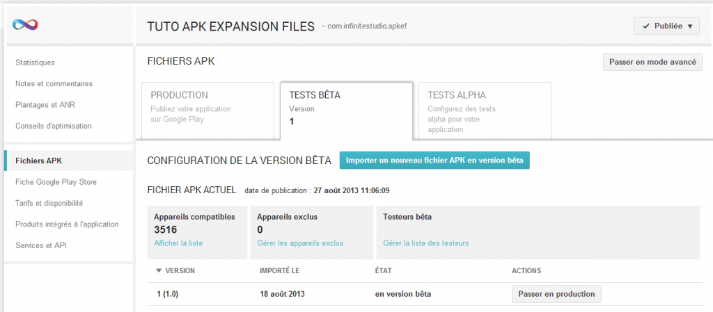 Tester une application Android avant sa mise en production - Upload application