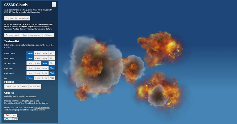CSS 3D Clouds - Michael Bay
